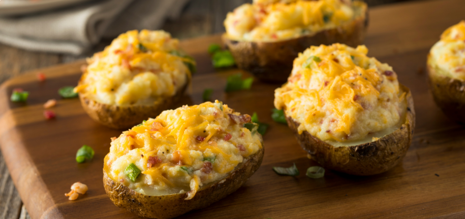 Loaded Potato Skins with Garlic and Sour Cream Dip
