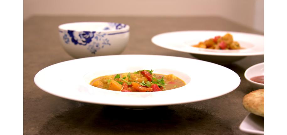 Prawn Squash Coconut Curry in bowls on a table