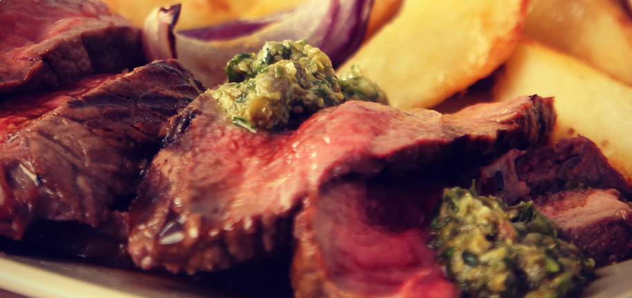 Sharing Steak and Chips Platter with Salsa Verde