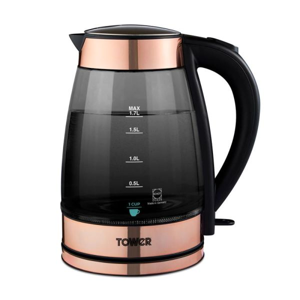 Rose Gold 3KW 1.7L Smoked Glass Kettle Rose Gold