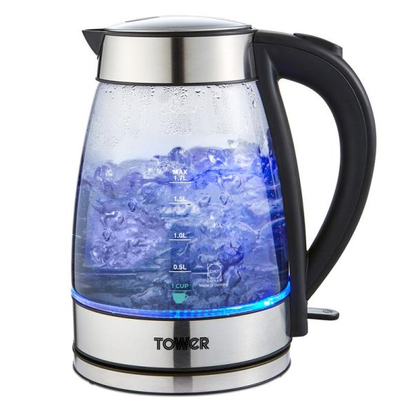 1.7 Litre Smoked Stainless Steel Glass Kettle