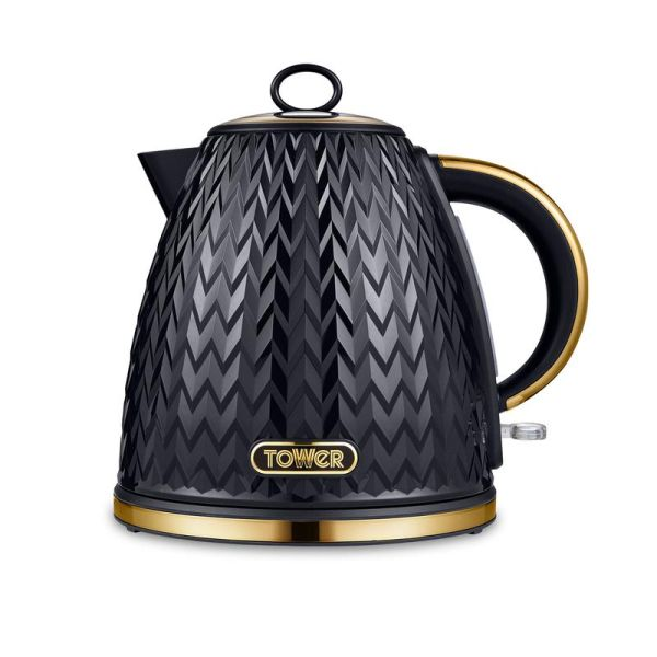 Empire 3KW 1.7L Pyramid Kettle Black with Brass Accents