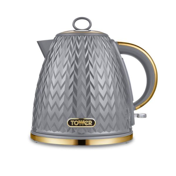 Empire 3KW 1.7L Pyramid Kettle Grey with Brass Accents