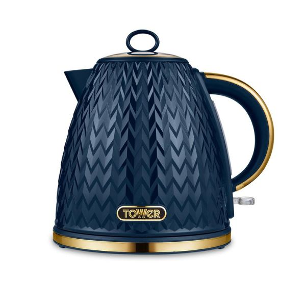 Empire 3KW 1.7L Pyramid Kettle Midnight Blue with Brass Accents