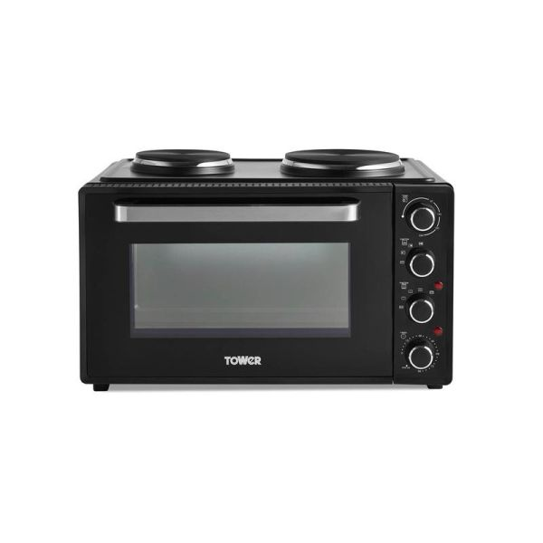 42 Litre Mini Oven with Hot Plates - Black with Silver Accents
