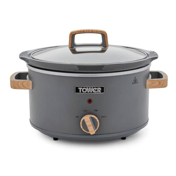 Tower Scandi 3.5L Stainless Steel Slow Cooker Grey