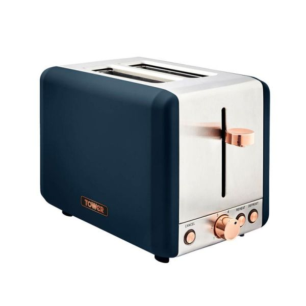 Cavaletto 850W 2 Slice Toaster Stainless Steell Midnight Blue And Rose Gold
