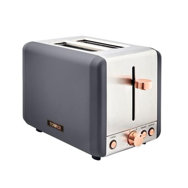 Cavaletto 850W 2 Slice Toaster Stainless Steell Grey