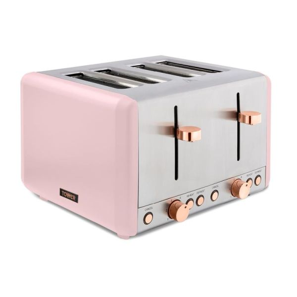 Cavaletto 1800W 4 Slice Toaster Stainless Steell Marshmallow Pink And Rose Gold