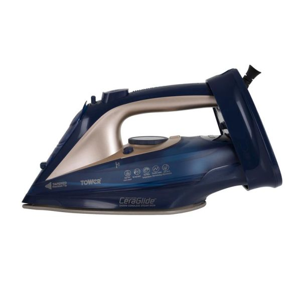 CeraGlide 2400W Cord Cordless Steam Iron Blue and Gold