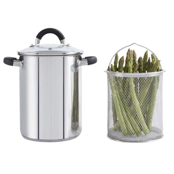 Essentials 16Cm Asparagus Pot With Basket Stainless Steel