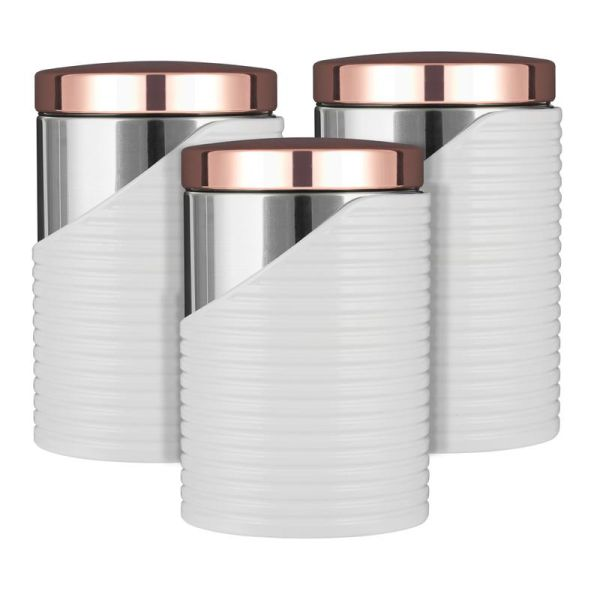 Linear Rose Gold Set Of 3 Canisters