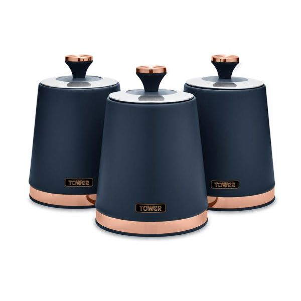 Cavaletto Set of 3 Canisters Midnight Blue
