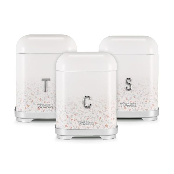 Terrazzo Set of 3 Canisters Tan