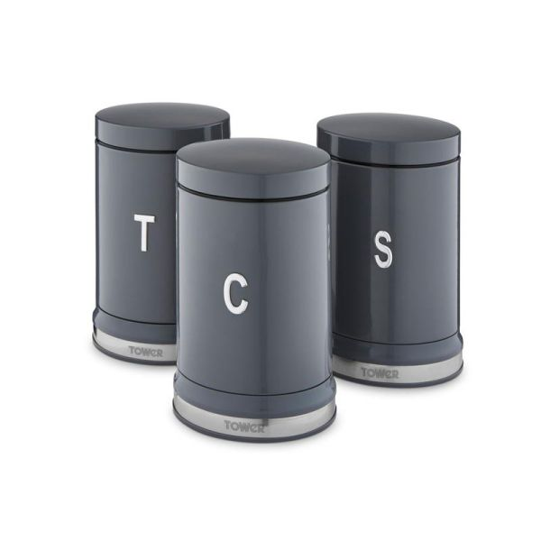 Belle Set of 3 Cansiters Graphite