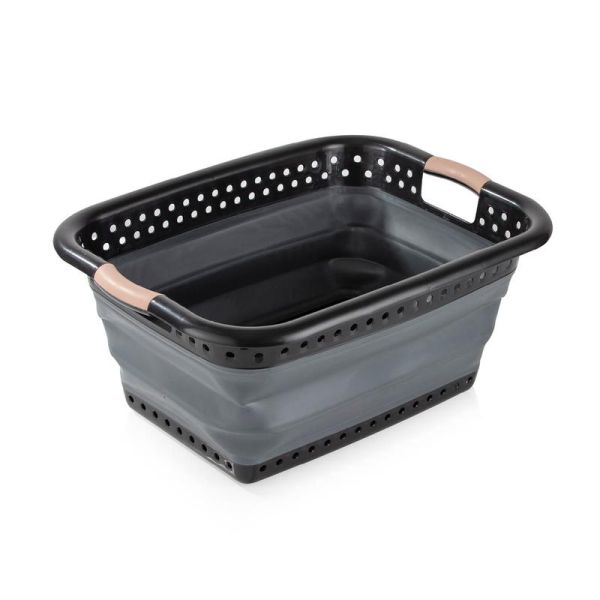 Black And Blush Gold Collapsable Laundry Basket